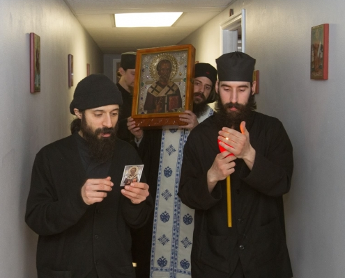 Procession with the Holy Icon of Saint Nicholas - blessing monastic cells.