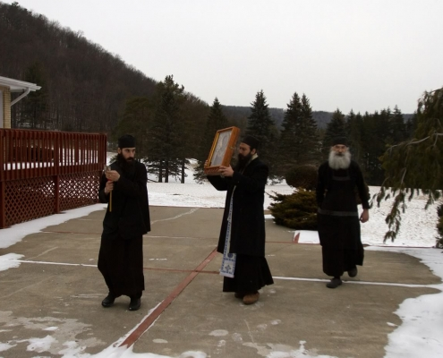 Procession with the Holy Icon of Saint Nicholas around our property for a blessing.