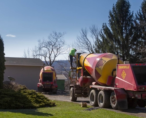 Concrete trucks lined up