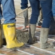 Moving the heavy concrete over radiant heat tubing