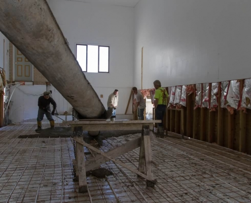 Main church floor being poured