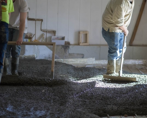 Main church floor being poured and leveled