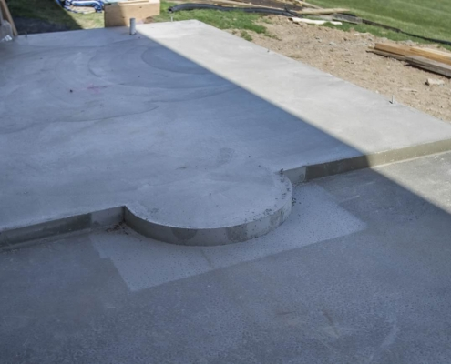 Side chapel floor poured