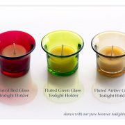 Fluted Glass Tealight Holders Shown With 100% Pure Beeswax Tealights