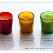 Solid Colored Glass Votive Holders with Pure Beeswax Candles